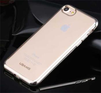 USAMS Kim TPU silikonový obal pro Apple iPhone 7 transparentní, stříbrný rámeček