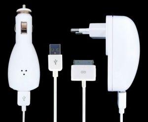 iPower iPod Charging Kit nabíječka a autonabíječka s kabelem pro iPod a iPhone 30pin , bílá retail balení