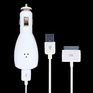 iPower iPod Car Charger autonabíječka a kabel pro iPod 30pin a iPhone ,bílá retail balení - TC-IUCC-WHT