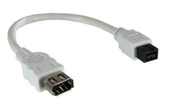 Mac Power FireWire 800 / 400 kabelová redukce 9pin M -6 pin F , Apple bílá 20cm