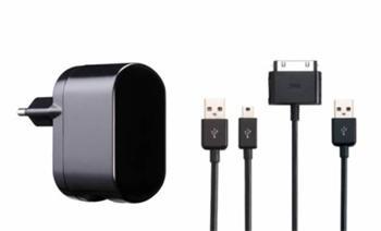 iPower DUAL Power Adapter 2.1A nabíječka pro Pod/iPhone/iPad /MP3 včetně USB kabelů černá