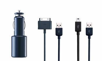 iPower DUAL Car Kit 2.1A autonabíječka pro Pod/iPhone/iPad /MP3 včetně USB kabelů černá
