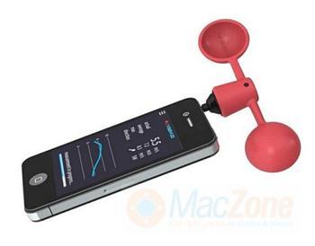 VAAVUD měřič rychlosti větru - anemometr pro iPhone 4, 5, 5S , iPad 2, 3, 4 a iPad mini, Air a Android telefony,červený
