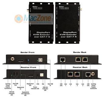 Gefen Display port KVM extender - prodloužení signálu DisplayPort a USB až na 30m po 3xCAT-7 GTB-DPKVM-3CAT7-BLK