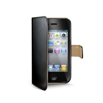 Celly Wally kožené pouzdro typu kniha pro iPhone 4/4S, černé