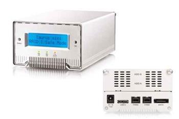 """MacPower Akitio TAURUS MINI Super S3 LCD externí case 2 x 2.5"""" HDD , HW RAID FW 800 /USB 3.0 / eSATA"""