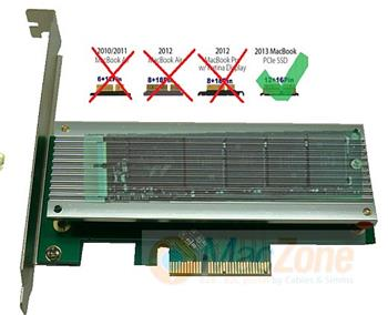 PCIe Envoy karta pro SSD moduly NVME z Apple MacBook Retina / Air late 2013-2015