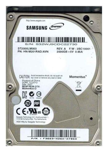 2TB Samsung SpinPoint M9T 2.5' SATA/600 5400RPM 32MB ST2000LM003