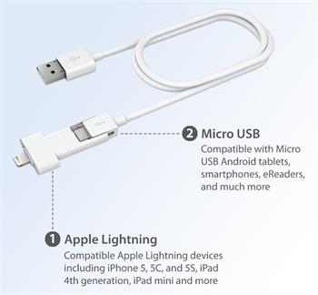 Innergie MagiCable Duo lightning a micro USB nabíjecí kabel 2v1 Apple lightning a micro USB MFI certifikace